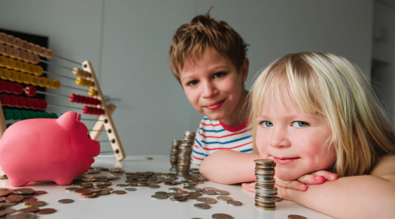 Kids with money box and coins